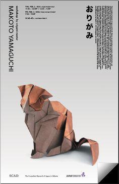 Poster for Origami Workshop Design Art, Print Design, Graphic Design, Japanese Culture, Japanese Art, Scad Atlanta, Charity Poster, Graphic Eyes, 3d Poster