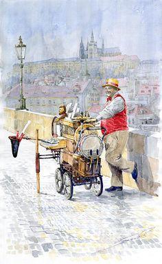 Prague Charles Bridge Organ Grinder-seller Happiness by Yuriy Shevchuk ~ watercolor Cityscape Art, Framed Prints, Canvas Prints, Watercolor Artwork, Whimsical Art, Art Pages, Beautiful Paintings, Art Studios, Painting Art