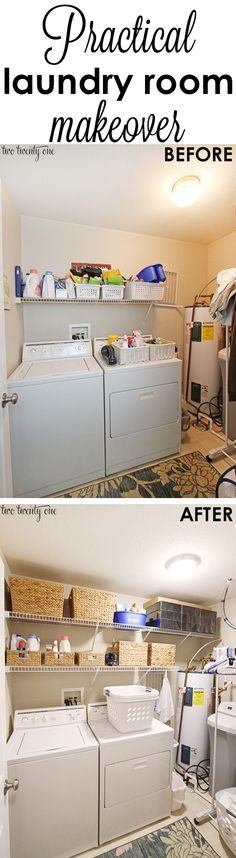 Practical laundry room makeover! Double the storage space!