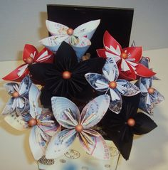 paper flowers origami floral bouquet set in a by cottagelakegifts, $29.99