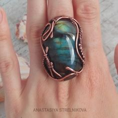 Wire Wrapped ring. Copper and labradorite