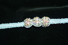 Unique Blue Handcrafted Hemp with 3 plastic Sparkle Balls with metal closure #Handmade #StrandString