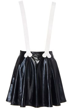 Bone Shaped Suspender Faux Leather Skirt