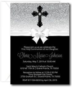Diamond Cross First Communion Invitation Diamond Cross, Diamond Heart, Saint Mary Catholic, First Communion Invitations, First Holy Communion, Love Necklace, White Envelopes, Custom Engraving, Graduation Gifts