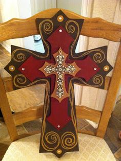 Hand painted wooden cross a Painted Wooden Crosses, Wood Crosses, Hand Painted, Decorative Crosses, Wooden Crafts, Diy Crafts, Decor Crafts, Cross Door Hangers, Cross Wreath