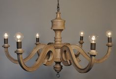 Six Arm Wooden Chandelier   From a unique collection of antique and modern chandeliers and pendants  at http://www.1stdibs.com/furniture/lighting/chandeliers-pendant-lights/