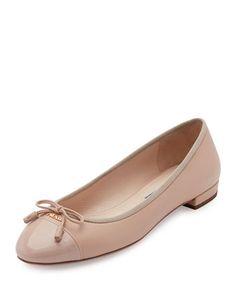 Cap-Toe Ballerina Flat by Prada at Bergdorf Goodman.