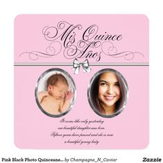 Pink Black Photo Quinceanera Invitation