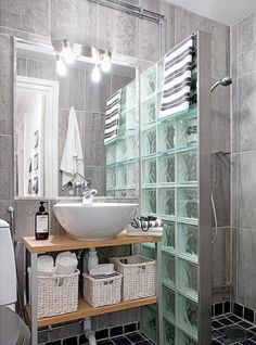 glass brick wall is a fantastic idea Modern Bathroom, Small Bathroom, Bathroom Ideas, Glass Block Shower, Upstairs Bathrooms, Bathroom Interior Design, Bath Remodel, Bathroom Renovations, Bathroom Furniture