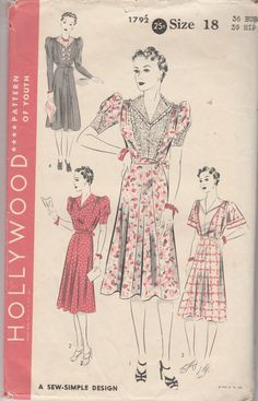 frock dress vintage pattern 1930's hollywood 1792