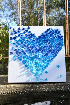 Blue Ombre Butterfly Heart/ 3D Butterfly Wall Art/ by RonandNoy,