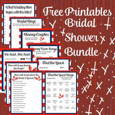 This Bundle has the following in a JPEG and PDF.  1. A-Z Wedding 2. Bridal Bingo 3. Disney Couples 4. Disney Love Songs 5. Find the Guest 6. Find the Guest Version 2 7. He Said, She Said 8. Baby Shower Word Scramble 9. How well do you know the Bride?