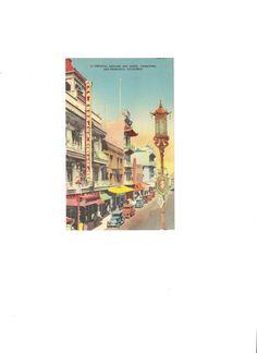 Vintage Color Linen Postcard Unused Oriental by EclecticEmbrace