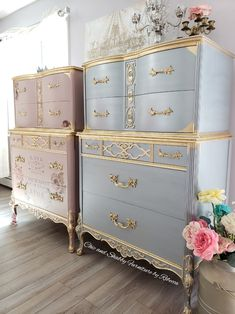 The Dixie Belle Tea Rose paint adds a soft touch with a satin top coat gold lea Hand Painted Furniture, Refurbished Furniture, Paint Furniture, Unique Furniture, Repurposed Furniture, Furniture Projects, Furniture Makeover, Vintage Furniture, Furniture Design