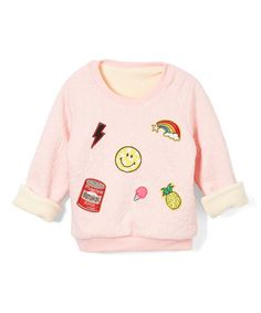 Look what I found on #zulily! Pink Patch Fleece-Lined Sweatshirt - Toddler & Girls #zulilyfinds