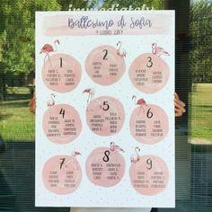 Tableau per battesimo con tema fenicotteri rosa
