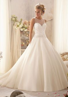 Bridal Gown From Mori Lee By Madeline Gardner Dress Style 2602 Delicate Crystal Beading Design on Tulle
