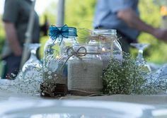 burlap mason jars as centerpieces. Hugo  Scheid Wedding, Windswept Photo Design
