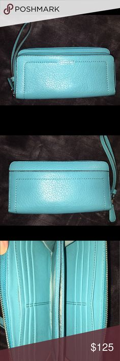 Coach Wallet Coach Park Leather Double Accordion Zip Wallet. Turquoise/ Silver F49157. Credit card and multifunction pockets. Full length billfold compartments. Zip pin pocket. Wrist strap attached. Zip closures. 7 3/4 (L) x 4(H). Matching Hobo also listed. Coach Bags Wallets