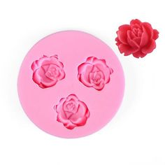 Roses Flexible Silicone 3-Cavity Mold for Polymer Clay Food