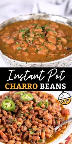 Charro Beans or Frijoles Charros are flavorful Mexican pinto beans cooked in broth with bacon, chiles and spices. Similar to Cowboy Beans, this delicious side dish is made quickly in the Instant Pot! #recipe #sidedish #pintobeans #instantpot Best Instant Pot Recipe, Instant Pot Dinner Recipes, Healthy Dinner Recipes, Cooking Recipes, Crock Pot Healthy, Easy Healthy Crockpot Recipes, Best Instapot Recipes, Instant Pot Chinese Recipes, Paleo Recipes