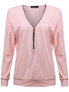 Loose Sexy Pink/Black/Green V Neck Women Zipper Blouse