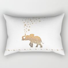 ELEPHANT by Monika Strigel $27  #pillow #rectangular #rectangularpillow #cover #home #bedding #sofa #dorm #homedecor #decor #makeover #spring #spring2016 #society6 #monikastrigel #glitter #girly #elephant #gold #white #fancy #fabulous
