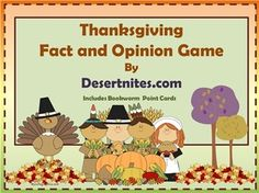 Thanksgiving Fact and Opinion Game using PowerPoint.