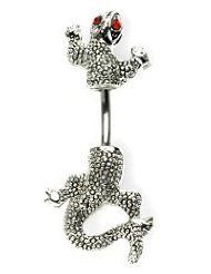 """Red Eye Lizard Split Body Belly Navel Ring body jewelry. $4.99. 14G 3/8"""". 316L Surgical Steel. fast shipping"""