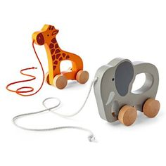 giggleBABY™ Giraffe and Elephant Wooden Push & Pull Toys - jcpenney #baby #toys #fun