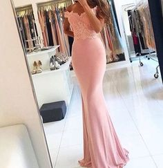 Long  Sexy  Sleeveless  Spandex  Prom Dress,Pink Lace  Evening Gowns Off The Shoulder Evening Gowns