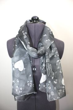 Monochrome Maddness by Victoria Stone on Etsy Teal Scarf, Unique Gifts For Her, Etsy Uk, Silk Painting, Grey Fashion, Cool Items, Silk Scarves, Pure Products, Monochrome