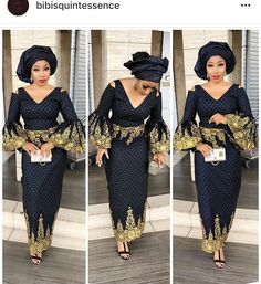 S The Latest Aso Ebi Styles - Bella Naija Fashion Dresses Nigerian Lace Dress, Nigerian Lace Styles, African Lace Styles, African Dresses For Women, African Attire, African Wear, African Fashion Dresses, African Women, Ankara Styles