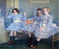 ∴ Trios ∴ the three graces, sisters, & groups of 3 in art and vintage photos - Theo van Rysselberghe | Three Children in Blue