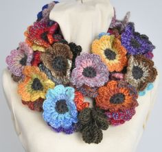 Floral Fall - Contrast - Red-Brown-Orange- Crochet Multicolor Flowers…
