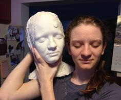Making a Head Mold - Making a Head Mold A lot of prosthetics are sculpted on top of a generic head. You can buy these - Concrete Crafts, Concrete Art, Concrete Projects, Cement Art, Concrete Molds, Concrete Garden, Diy Halloween Decorations, Halloween Diy, Concrete Sculpture