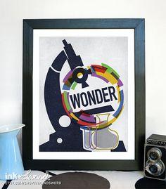 Original Illustration-Stellar Science Wonder - 11x14 Science Poster Print. $18.00, via Etsy.