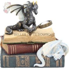 Nemesis Now Miniature Scholars Trinket Box Black Pile Of Books, Leather Bound Books, Small Space Storage, Dragon Pictures, White Dragon, Jewellery Boxes, Fantasy Books, Fairy Land, Beautiful Gifts