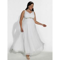 plus size long chiffon wedding dress