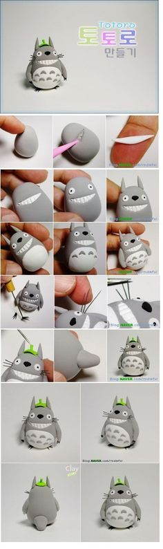 polymer clay totoro figure I don't care if this is in Japanese, I love me so Totoro:)