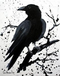 Crow Painting, Original acrylic, raven painting - Tetiana Art