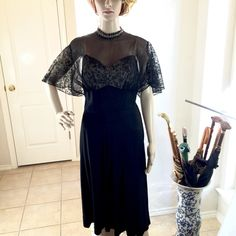 "Vintage 30's Lace & Silk Crepe Cocktail Dress Beautifully made Late 1930's Hollywood black silk crepe cocktail dress with lace caplet sleeves. In perfect condition for its age, the sheer lace bodice drops to the waist in back. Waist 13.5"", Pit to pit 18.5"", Length 43"". Worn by a relative during her Hollywood and Broadway years. In Exceptional vintage condition and darling on!! Vintage Dresses"