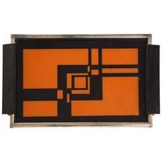 Lovely Deco Geometric Orange Black Steel Wood Tray, France 1930s, 1940s