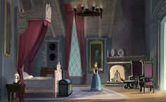 Frozen concept art. Anna's room. I could live here.