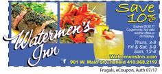 Fine dining awaits you at the Watermen's Inn of Crisfield, MD. Using only the freshest, local and seasonal seafood, fruits and vegetables, you dining experience will be nothing short of spectacular. Save 10% off your purchase with your Frugals coupon. Open Thursday through Sunday. Print out your coupon at www.frugals.biz. Check out their menu at www.watermensinn.com