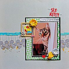 Scrapbook layout with 1 photo on a band- Sly Kitty by Christy Strickler for My Scrapbook Evolution
