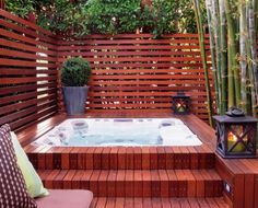 A Jacuzzi is a real relaxation oasis, the best place ever to have a rest after a long day. But if your Jacuzzi is outdoors, it's even more amazing . Hot Tub Deck, Hot Tub Backyard, Hot Tub Garden, Backyard Privacy, Backyard Patio, Jacuzzi Outdoor Hot Tubs, Backyard Landscaping, Privacy Fences, Hot Tub Patio On A Budget