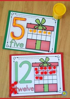 CHRISTMAS Math – Number / Playdough Mats - Holiday Gifts. Use with playdough, pompoms, buttons, counters .... Great for December math centers!