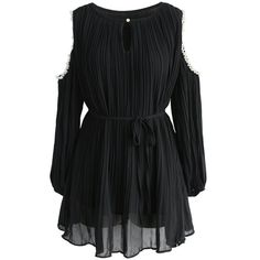 Chicwish Enthralling Pleated Cold-shoulder Tunic in Black ($39) ❤ liked on Polyvore featuring tops, tunics, black, cut-out shoulder tops, open shoulder top, pleated tunic, cold shoulder tunic and cut out shoulder top