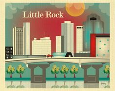 Little Rock, Arkansas wall art comes in an array of finishes, materials, and sizes, this retro inspired art print will make Little Rock feel close to your heart with its bright color palette and uniqu